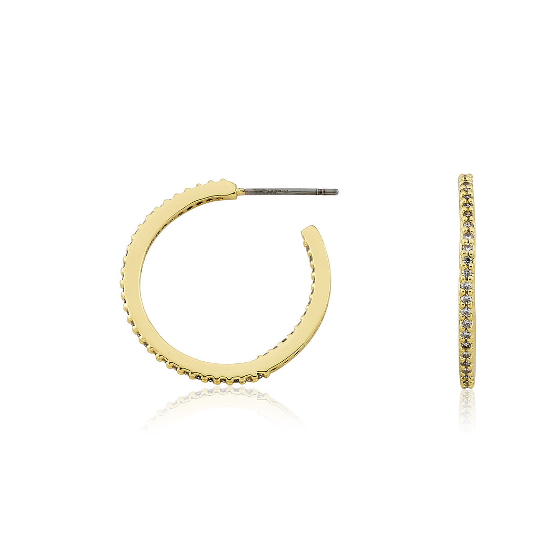 Riccova Retro 14 Kt Gold Plated CZ Circle Hoop Earring