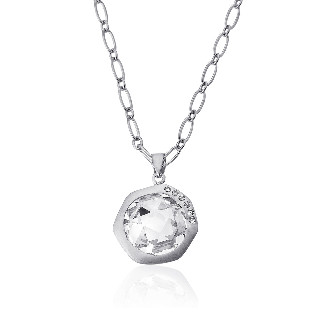 Riccova City Lights Rhodium-Plated Cubic Zirconia Accented Faceted Clear Stone Pendant Necklace