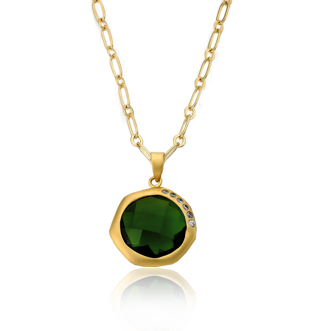 Riccova City Lights Gold-Plated Cubic Zirconia Accented Faceted Green Agate Stone Necklace