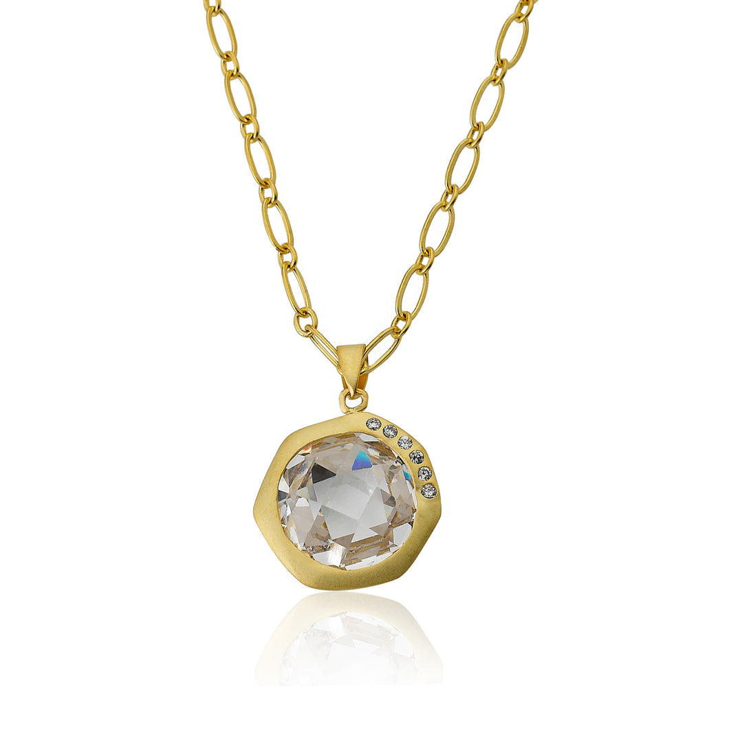 Riccova City Lights Satin 14k Gold-Plated Cubic Zirconia Accented Faceted Clear Stone Pendant Necklace/ Brass 16