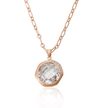 Riccova City Lights Satin Rose Gold-Plated Cubic Zirconia Accented Faceted Clear Stone Pendant Necklace/ Brass