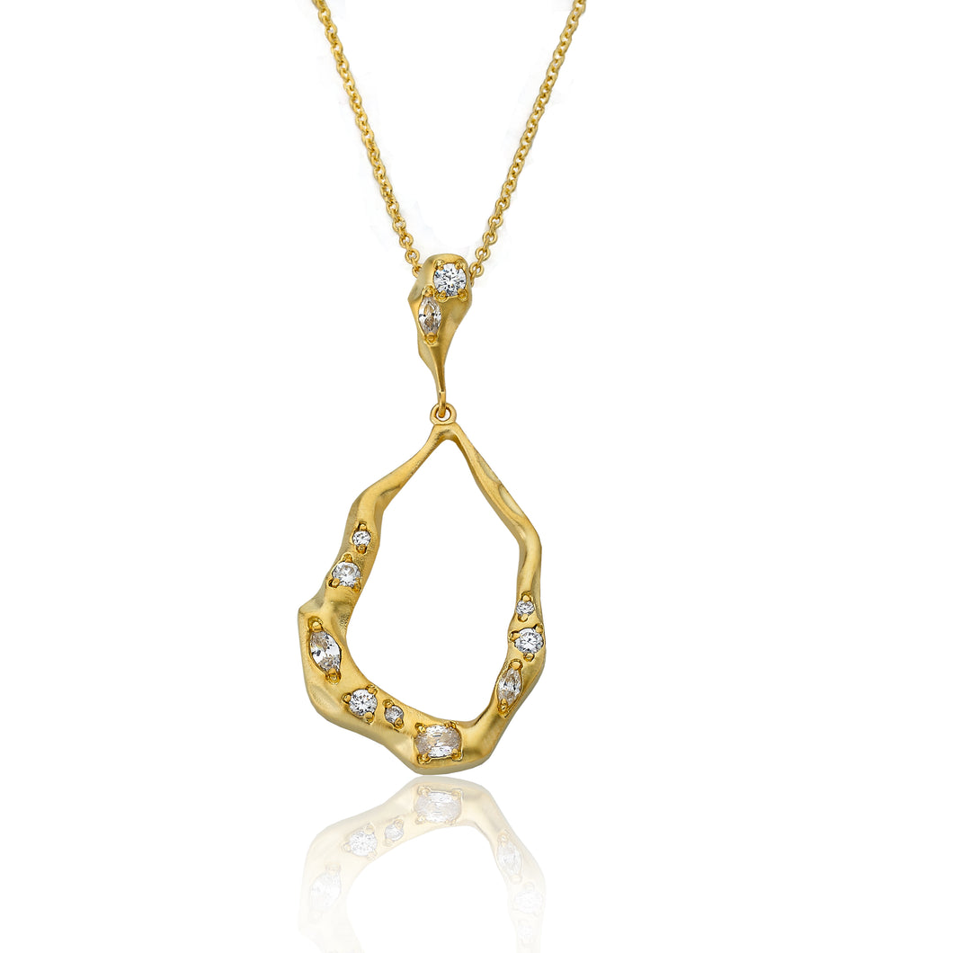 Riccova Retro Satin Gold Plated Open Teardrop Pendant Necklace Accented With Cubic Zirconia Chips