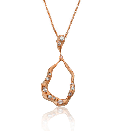 Riccova Retro Satin Rose Gold Plated Open Teardrop Pendant Necklace Accented With Cubic Zirconia Chips