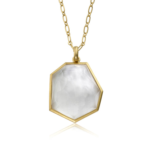 Riccova City Lights 14k Gold-Plated Heavy Link Chain With Faceted Glass Large Pendant brass