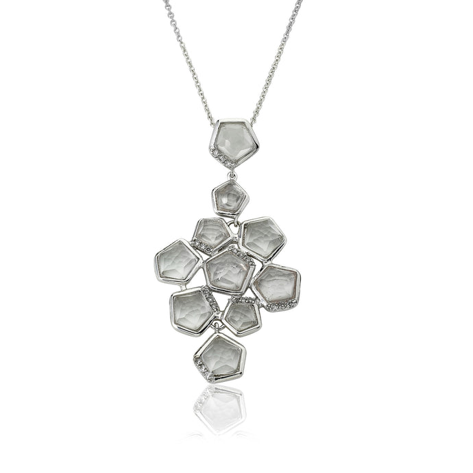 Riccova City Lights Rhodium-PlatedCZ Accented Clear Faceted Stones Cluster Pendant Necklace/ 16