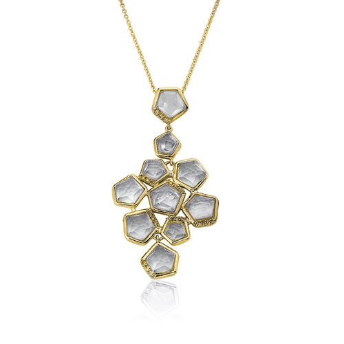 Riccova Riccova City Lights Satin 14k Gold-Plated Cubic Zirconia Accented Clear Faceted Stones Cluster Pendant Necklace/ Brass 16