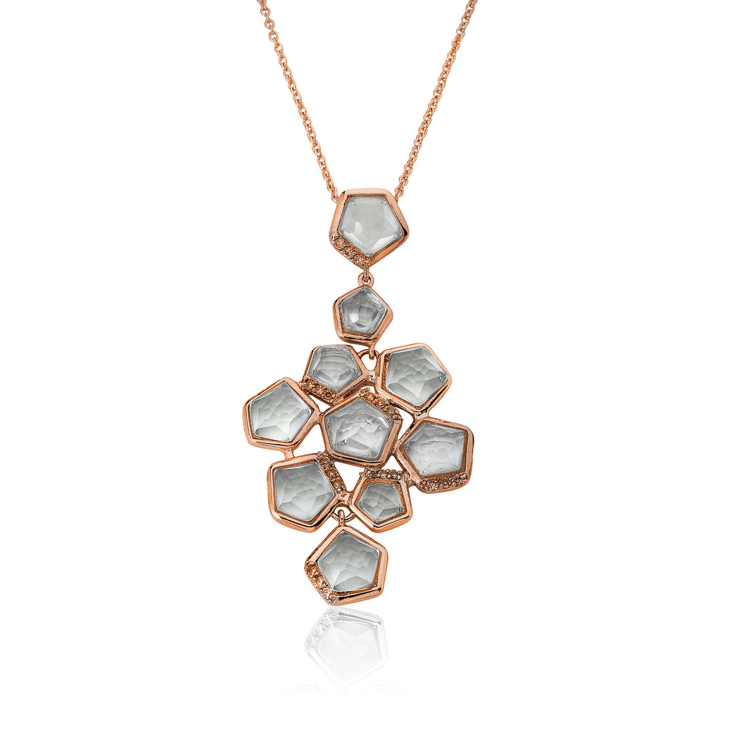Riccova City Lights Rose Gold-PlatedCZ Accented Clear Faceted Stones Cluster Pendant Necklace/ 16