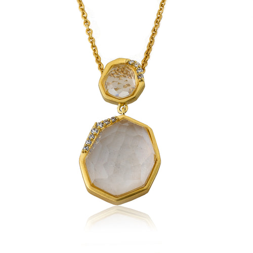 Riccova City Lights Satin 14k Gold-Plated Cubic Zirconia Accented Clear Faceted Stones Pendant Necklace/ 16