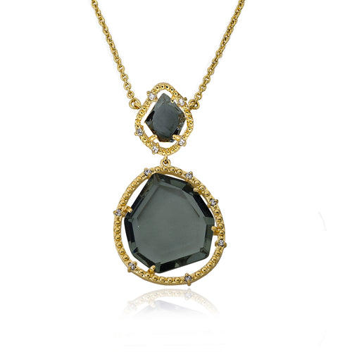 Riccova Sliced Glass 14k Gold Plated Black Sliced Glass Pendant Chain Necklace Brass