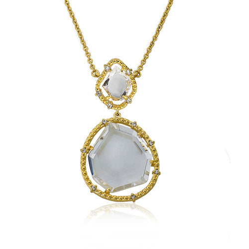 Riccova Sliced Glass 14k Gold Plated Clear Sliced Glass Pendant Chain Necklace Brass