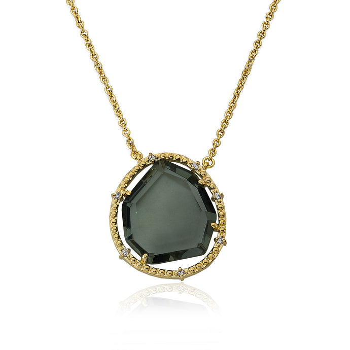 Riccova Sliced Glass 14k Gold-Plated Black Sliced Glass Pendant Chain Necklace Brass 16