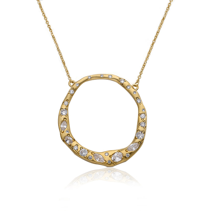 Riccova Retro Satin 14k Gold Plated  Open Circle Pendant Chain Necklace Accented With Crushed Cz's