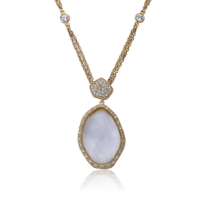 Riccova City Lights 14k Gold-Plated CZ & Faceted Glass Pendant On Diamond By The Yard Double Strand Chain
