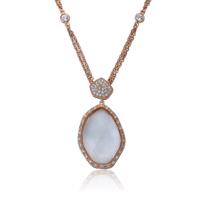 Riccova City Lights Rose Gold-Plated CZ & Faceted Glass Pendant On Diamond By The Yard Double Strand Chain/ Brass 16