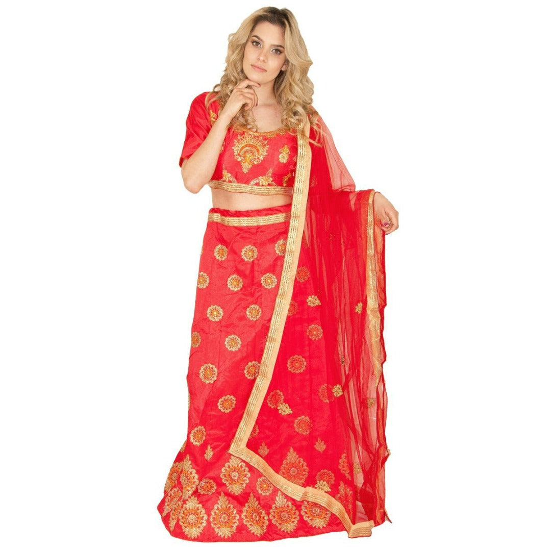 Trendsetting Party lehenga - Red - Chiro's By Jigyasa
