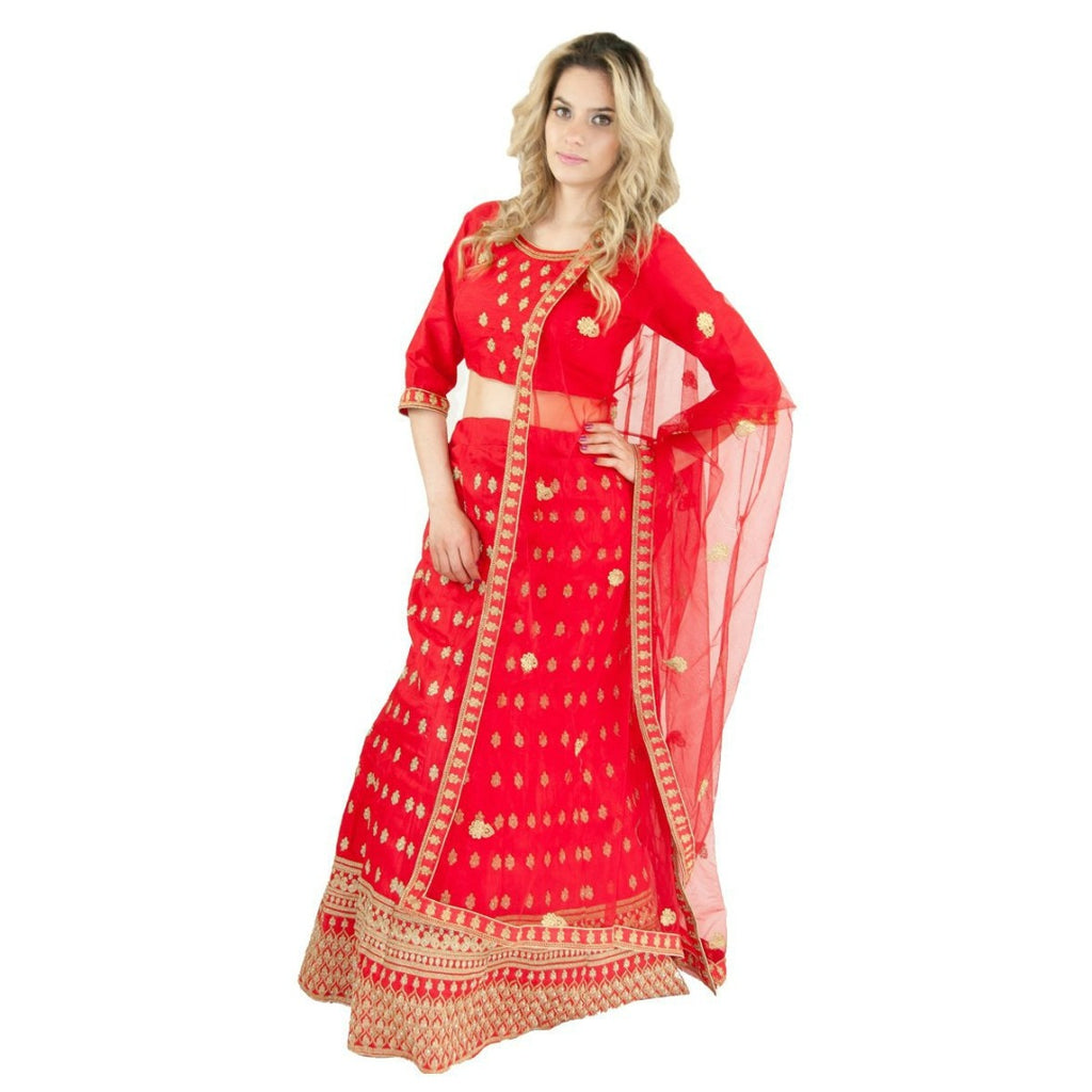 Essential Party Lehenga -Red - Chiro's By Jigyasa