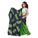 Green and Black Pure silk hand painted saree