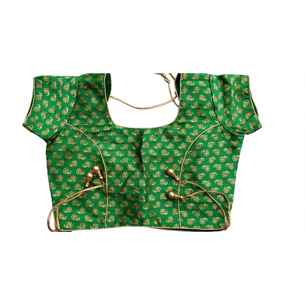 Traditional  Green Brocade Blouse