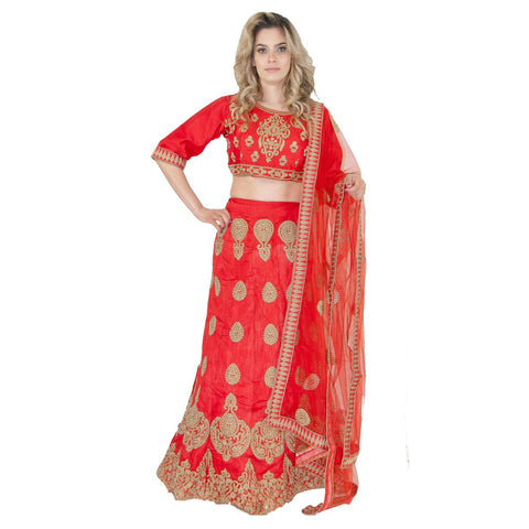 Fashionable Party Lehenga -Red - Chiro's By Jigyasa