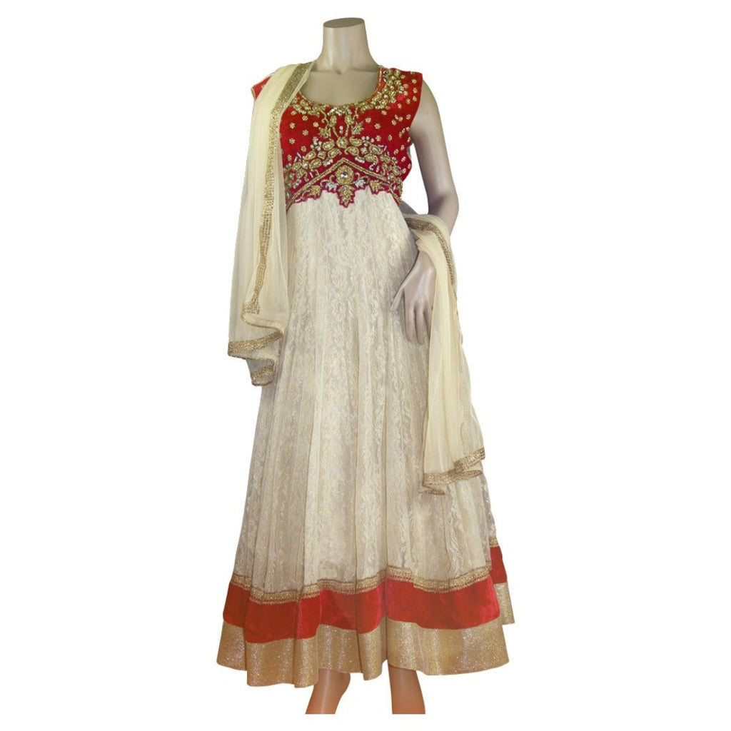 Red and biege gold work anarkali