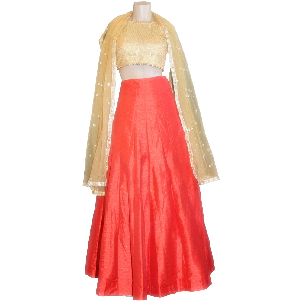 Raw silk red Lehenga with Gold blouse