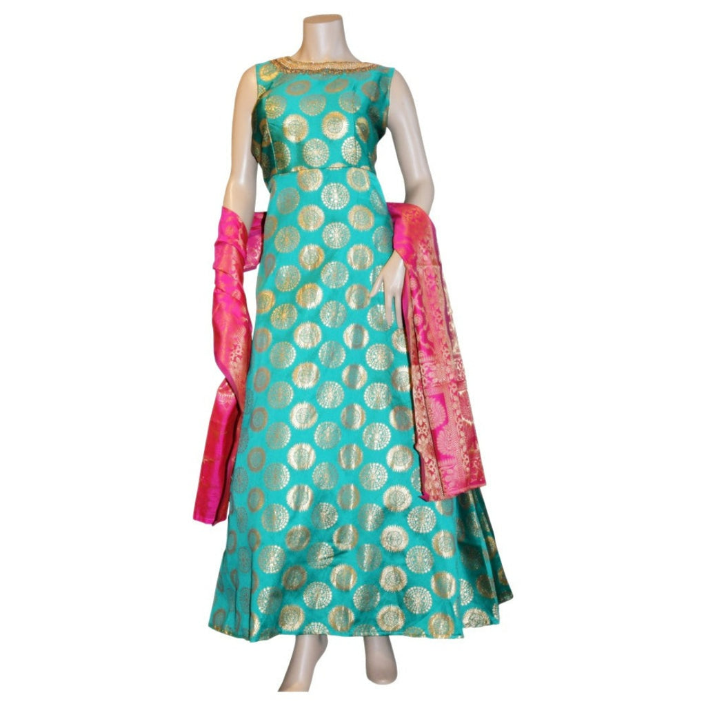 Brocade anarkali dress with hand embroidery