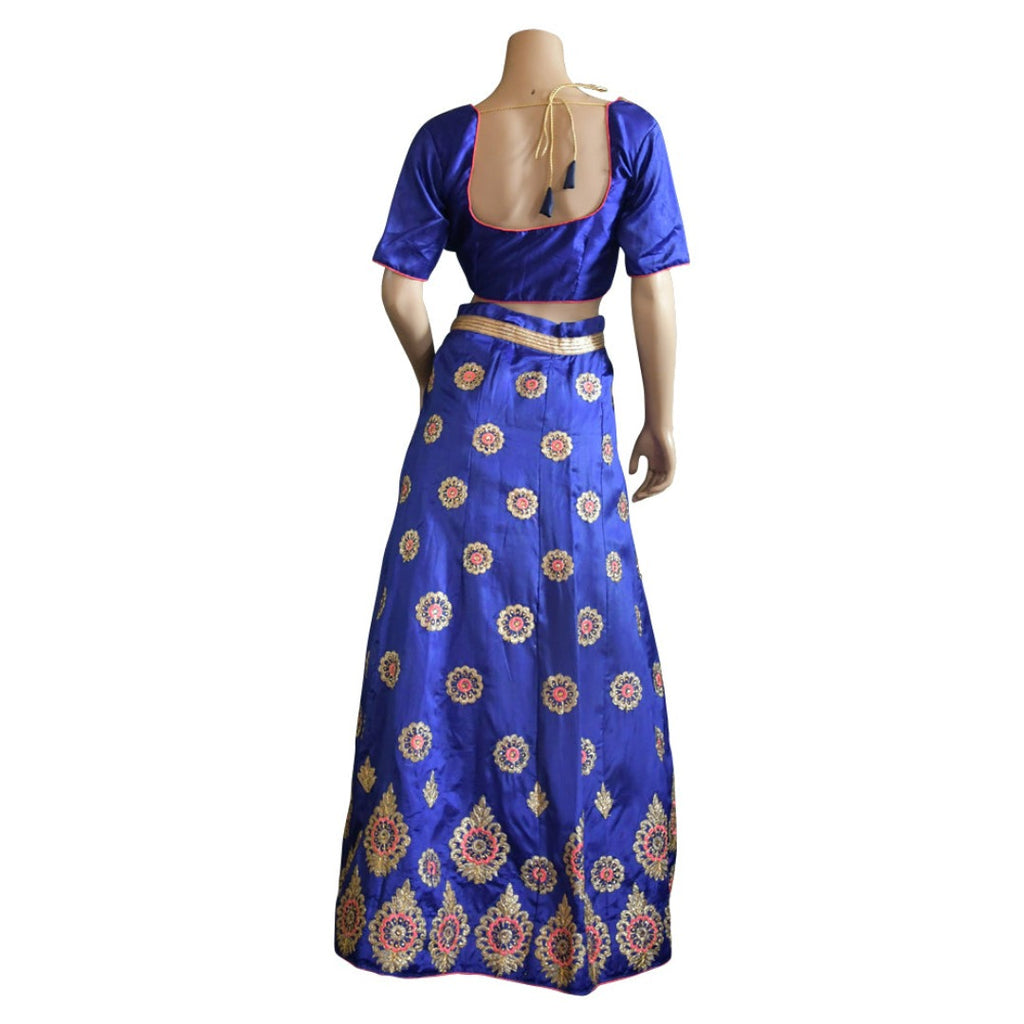 Blue and Pink Embroidered lehenga