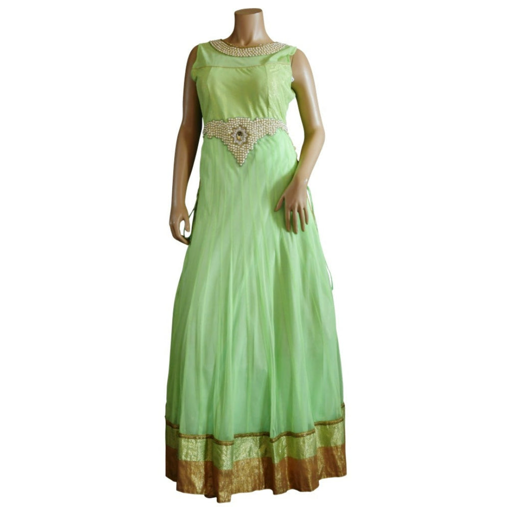 Light green embroidered floor length gown