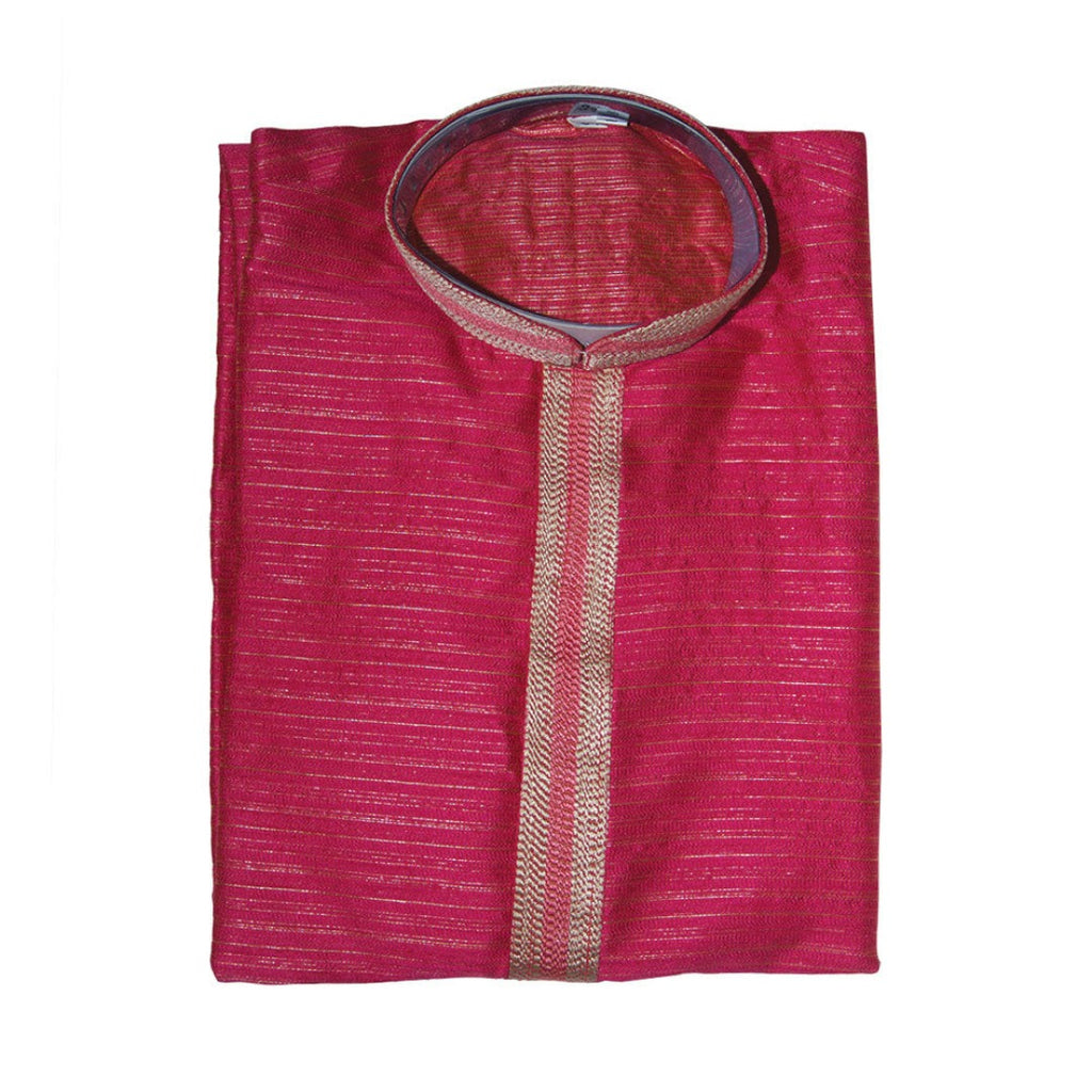 Men's Pink Kurta with Gold Round Neck