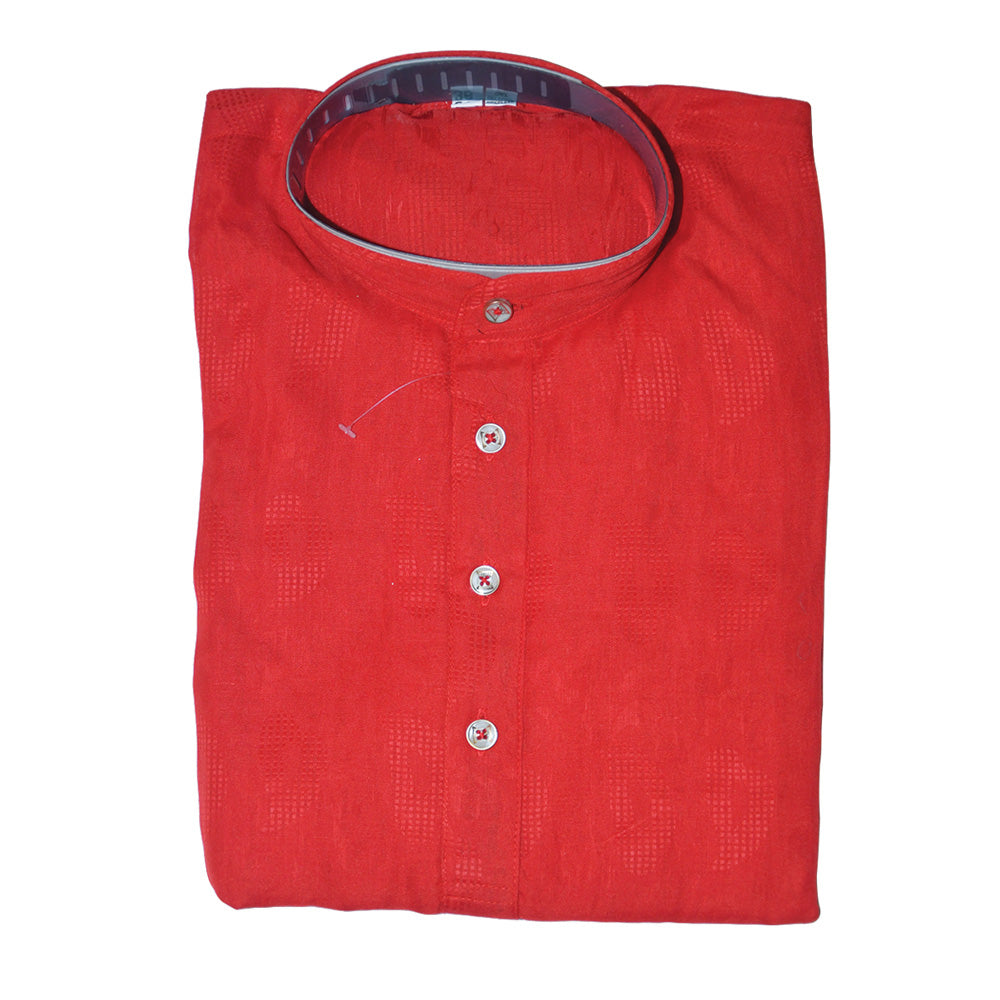 Red Cotton kurta set for men