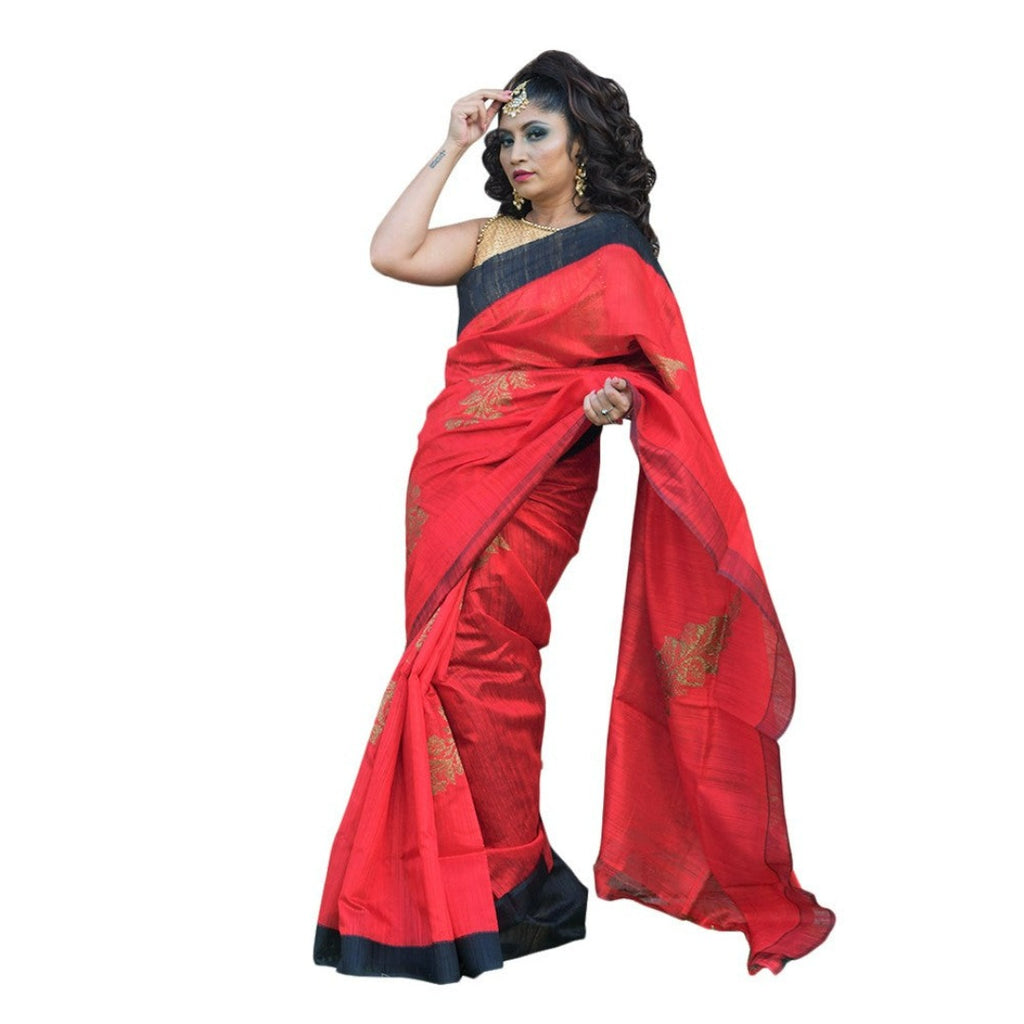 Red and Black handloom benarasi silk saree