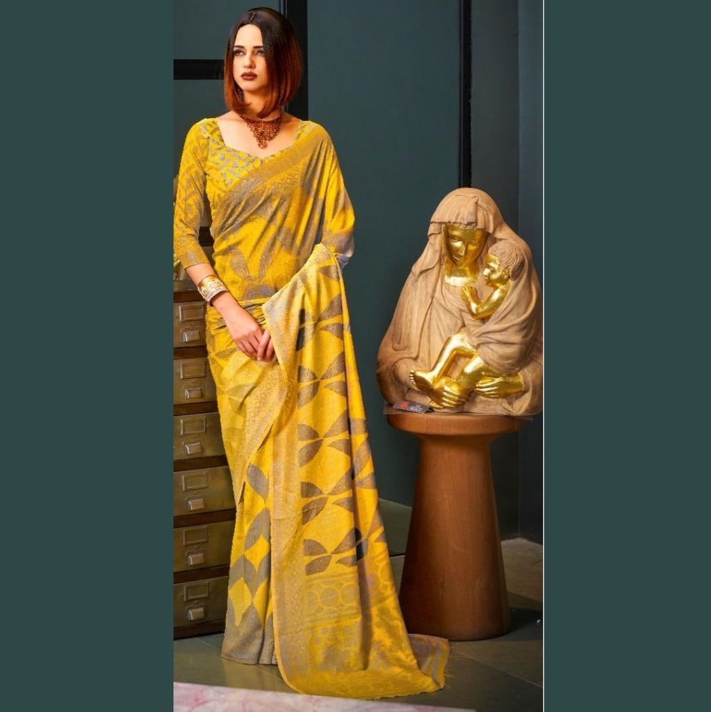 Yellow and gold woven Saree
