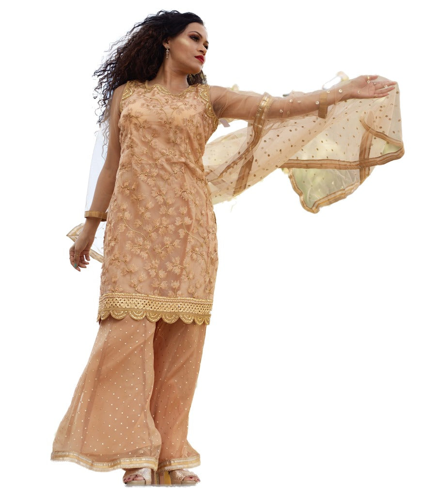 Gold  Palazzo dress with Embroidery all over