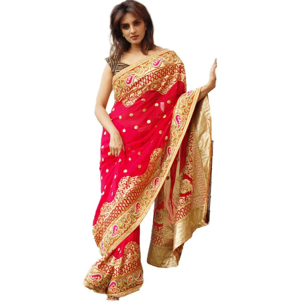 Heavy embroidery work Georgette Saree