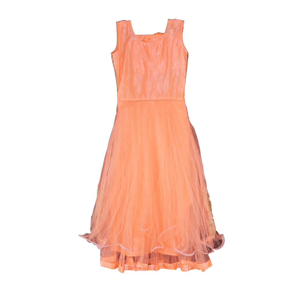 Embroidered Floor Length Gown for girls - Peach