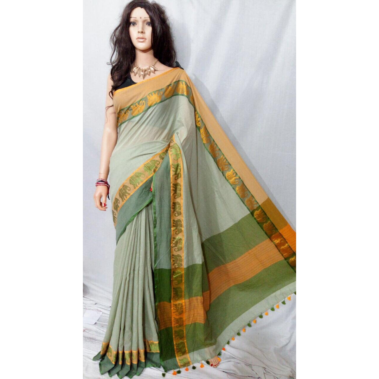 Soft khadi cotton saree dress - Chiro's By Jigyasa