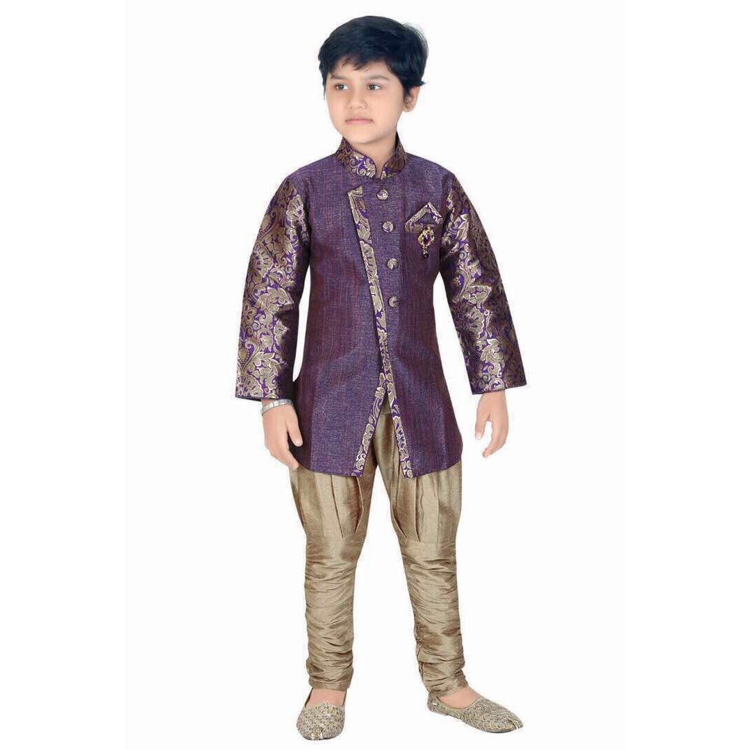 Blue and gold Indo western wear for boys - Chiro's By Jigyasa