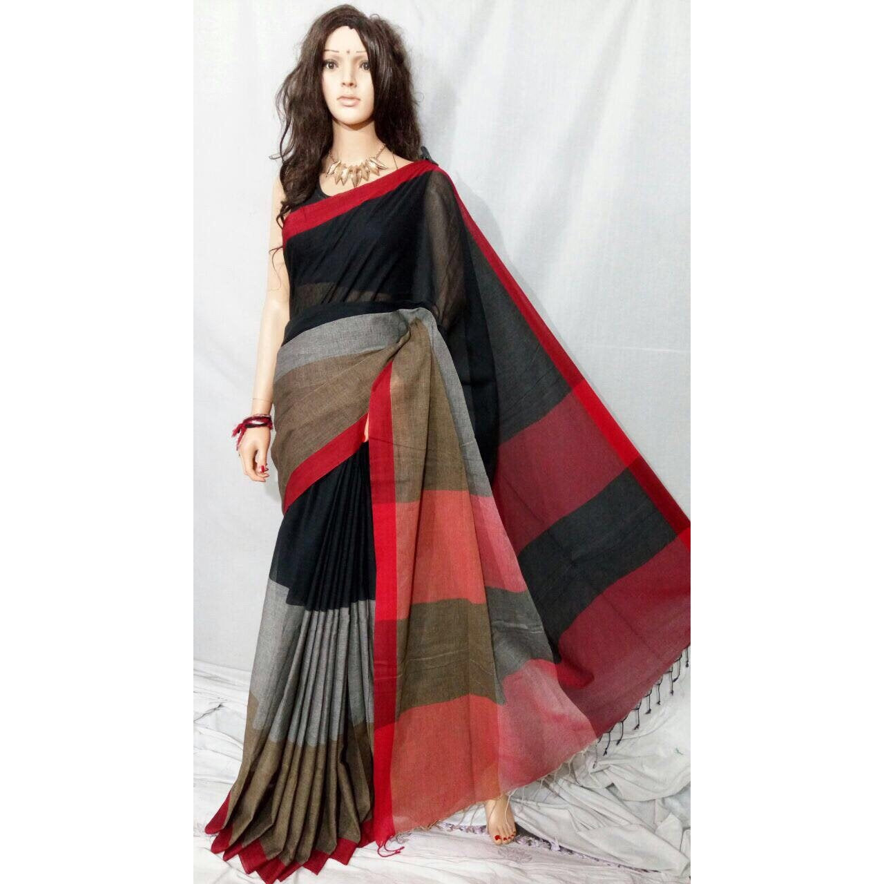 Elegant Cotton Linen Saree - Chiro's By Jigyasa