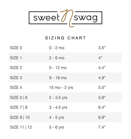 sweetnswag moccasin sizing chart