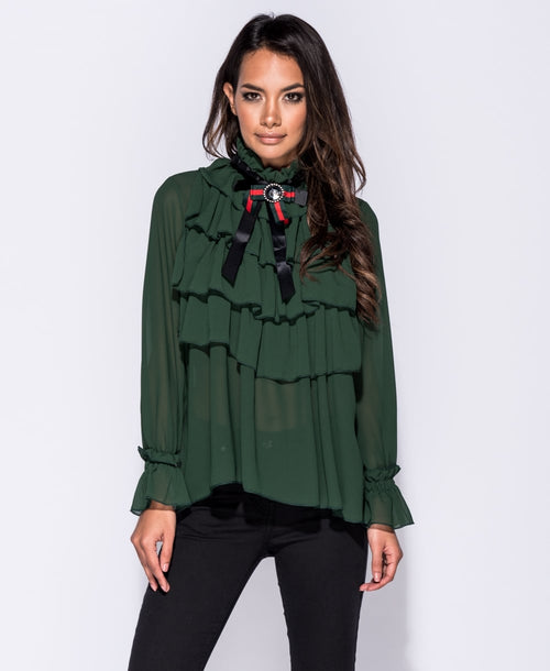 Bow Trim Ruffle Detail Blouse