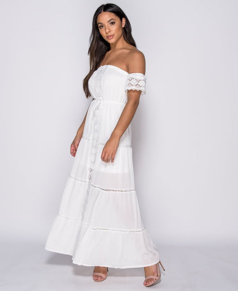 Custom hand made white lace maxi dress
