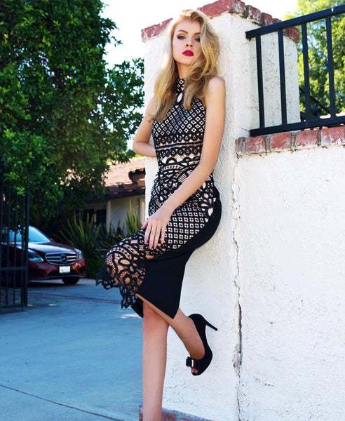 SWEET ESCAPE (BLACK LACE BODYCON DRESS)