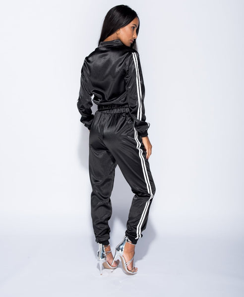 SOFT APPROACH (SATIN TRACK SUIT IN BLACK)