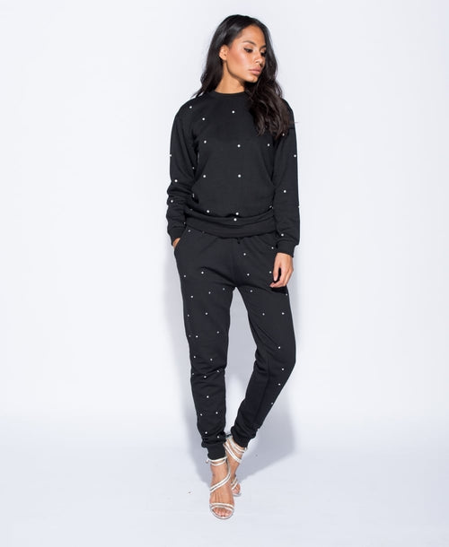 SHINE ON YOU (DIAMOND EMBEZZLED TRACK SUIT IN BLACK)