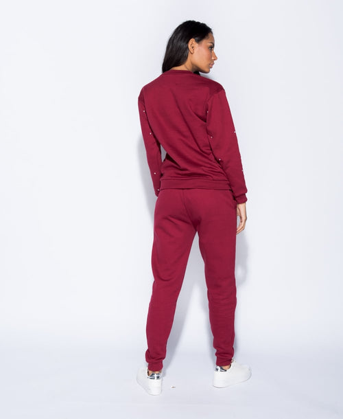 SHINE ON YOU (DIAMOND EMBEZZLED TRACK SUIT IN BURGUNDY)