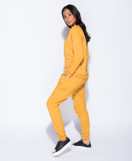 SHINE ON YOU (DIAMOND EMBEZZLED TRACK SUIT IN MUSTARD)