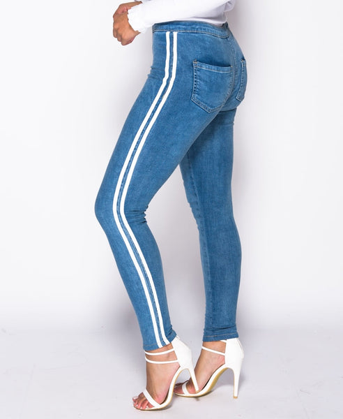 LIVE LIKE A ROCK STAR (BLUE DENIM WITH DOUBLE WHITE STRIPE) - Karma Couture Boutique