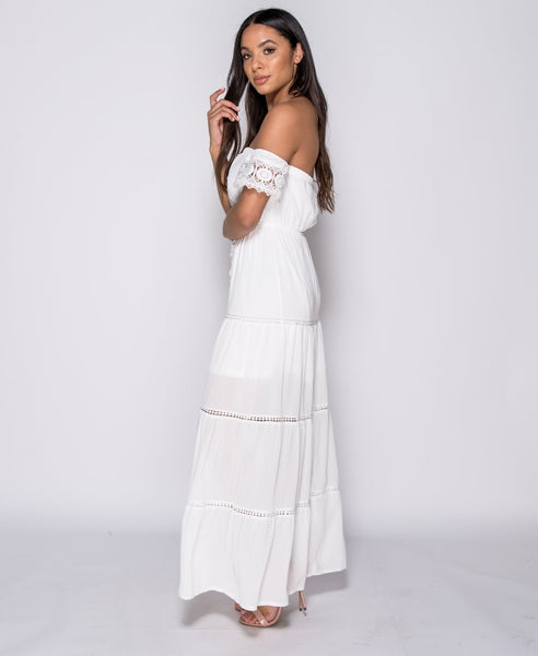 SO VERY ANGELIC (HANDMADE MAXI DRESS IN WHITE WITH LACE TRIM)
