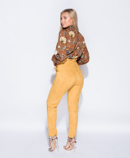 SUEDETTE (MUSTARD) EXCLUSIVE PAPER BAG PANTS