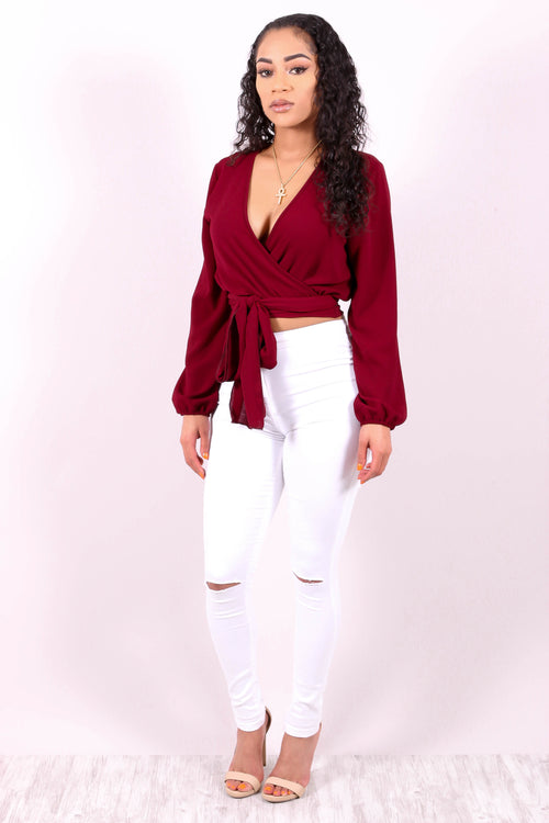 BEAUTIFUL BURGUNDY WRAP AROUND TOP